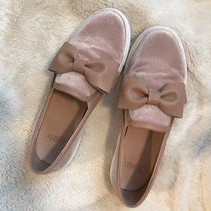 Shoes - Faith Pink Velvet Sneakers with Bow